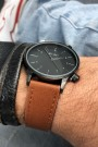 """Ernest horloge """"New-Elegance"""" camel-zwart"""