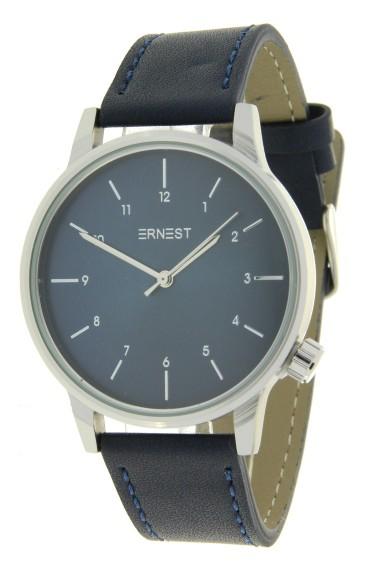 "Ernest horloge ""New-Elegance"" blauw-zilver-blauw"