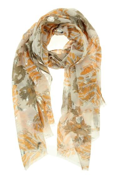 "Sjaal ""Metallic Leaf Print"" beige"