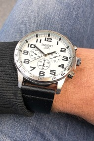 """Ernest herenhorloge """"Cameron"""" zwart-zilver"""