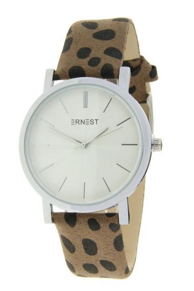 "Ernest horloge ""Silver-Andrea-Cheetah"" mocca"