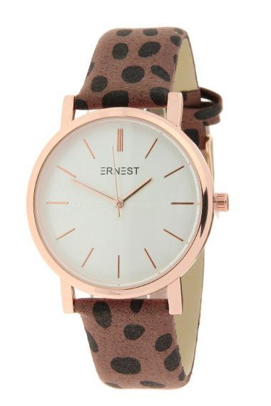 "Ernest horloge ""Rosé-Andrea-Cheetah"" bruin"