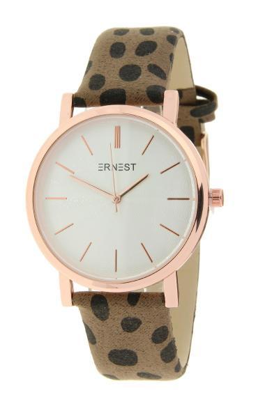 """Ernest horloge """"Rosé-Andrea-Cheetah"""" mocca"""