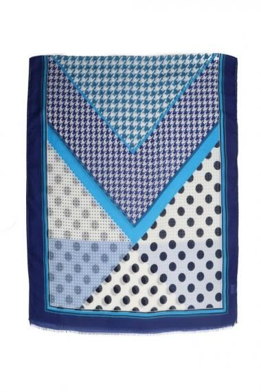 "Sjaal ""Dots & Pied de Poule"" blauw"
