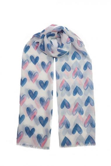 """Sjaal """"Loving Hearts"""" blauw"""