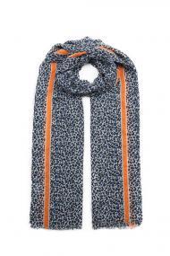"""Sjaal """"Mini Leopards"""" blauw-oranje"""
