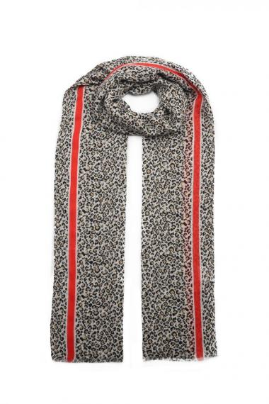 """Sjaal """"Mini Leopards"""" taupe-rood"""