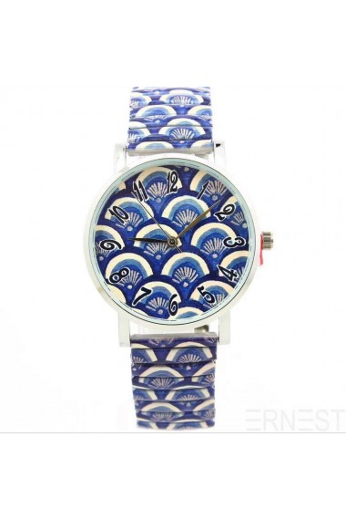 "Ernest horloge ""Peacock"" donkerblauw"