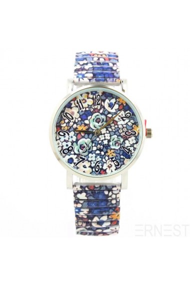 "Ernest horloge ""Crazy Flowers"" donkerblauw"