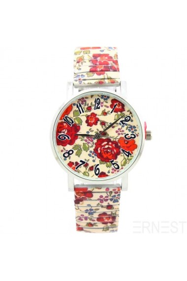 "Ernest horloge ""Red Flowers"" beige"