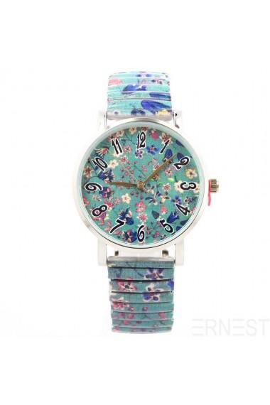 """Ernest horloge """"Little flowers"""" groen"""