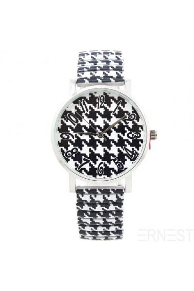 """Ernest horloge """"Pied de Poule"""" zwart-wit"""