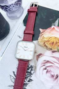 "Ernest horloge ""Croco-Square"" donkerrood"