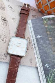 "Ernest horloge ""Croco-Square"" camel"