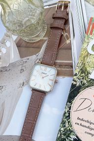"Ernest horloge ""Croco-Square"" mocca"