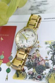 "Ernest horloge ""Flower-Feline"" goud"