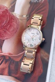 "Ernest horloge ""Flower-Feline"" rosé"