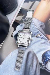"""Ernest horloge """"Square-Metal"""" zilver"""