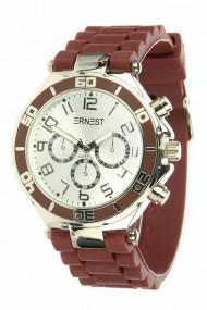 """Ernest horloge """"Silver-case"""" bordeaux"""