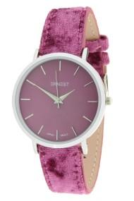 """Ernest horloge """"Silver-Nox-Velvet"""" fuchsia"""