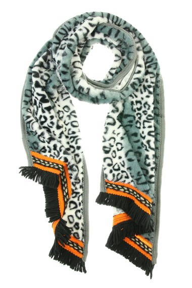 "Omslagdoek ""Long Leopard"" wit"